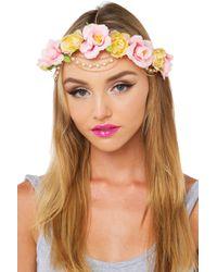 AKIRA - Fluer Del Rey Floral Headpiece - Pink/yellow - Lyst