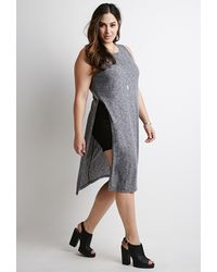 Forever 21 High-Slit Heathered Tunic - Lyst