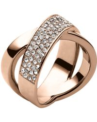 Michael Kors - Pave Crystal Crossover Ring - Lyst