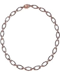 Fallon Brinkley Pave Bar Link Necklace pink - Lyst