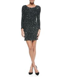 Haute Hippie Long-sleeve Sequin Dress - Lyst