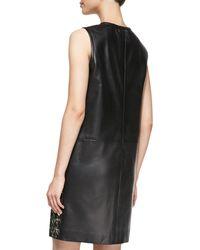 J. Mendel Sleeveless Houndstooth Leather Dress - Lyst