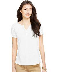 Lauren by Ralph Lauren Petite Smocked Cotton Shirt - Lyst