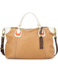 orYANY Maria Colorblock Leather Satchel Bag - Lyst