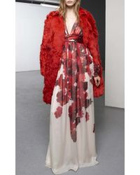 Giambattista Valli Red Alpaca Coat With Xiangao Lamb Collar - Lyst
