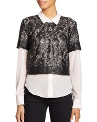Elizabeth And James Carnie Layered Lace & Solid Shirt black - Lyst