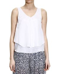 Armani Jeans Top Sleeveless Cotton E Silk - Lyst