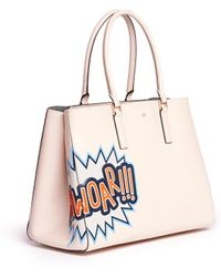Anya Hindmarch 'Ebury Large Featherweight Phwoar!!' Leather Tote pink - Lyst