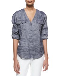 Theory Trisalta Tab-Sleeve Chambray Top - Lyst