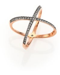 Michael Kors Brilliance Statement PavÉ Jet X Ring/Rose Goldtone pink - Lyst