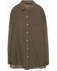 Zara Oversize Shirt With Pocket - Lyst