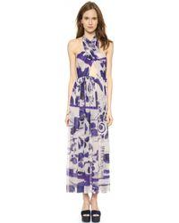 Jean Paul Gaultier Cross Halter Dress - Blue Multi - Lyst