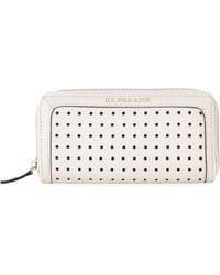 U.S. POLO ASSN. - Khaki Perforated Dot Zip Wallet - Lyst