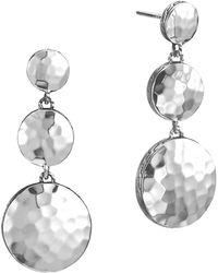 John Hardy Palu Silver Triple Drop Linear Earrings - Lyst