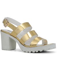 Lord & Taylor - Asaywen Metallic Faux Leather Sandals - Lyst