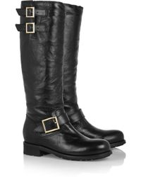 Jimmy Choo Yule Leather Biker Knee Boots - Lyst