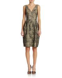 Vera Wang V-neck Brocade Dress - Lyst