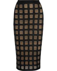 Balmain Open-Knit Pencil Skirt - Lyst