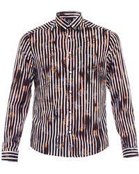 McQ by Alexander McQueen Worn Stripe-Print Cotton Shirt - Lyst