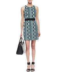 Milly Ana Geoprint Sheath Dress Seafoam 0 - Lyst