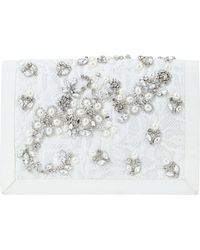 Ann Taylor Jeweled Lace Clutch - Lyst