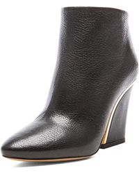 Chloé Gold Line Leather Ankle Boots - Lyst
