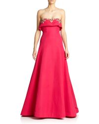 Notte by Marchesa Strapless Faille Overlay Gown - Lyst