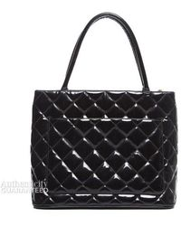 Chanel Pre-Owned Black Patent Medallion Tote Bag black - Lyst