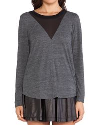 Rebecca Taylor Long Sleeve Jersey and Chiffon Top - Lyst