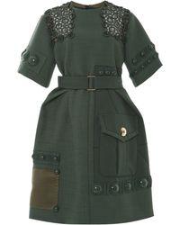 Marc Jacobs Green Hopsack Peplum Dress - Lyst