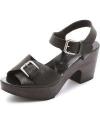 Rachel Comey Bandera Peep Toe Clog Sandals - Black Perforated - Lyst