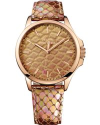 Juicy Couture Womens Jetsetter Bronze Pythonembossed Leather Strap Watch 38mm - Lyst