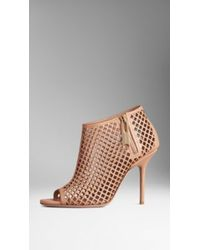 Burberry Leather Lattice Peep-Toe Ankle Boots - Lyst