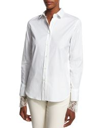 Brunello Cucinell | Poplin Blouse W/scalloped Lace Cuffs | Lyst