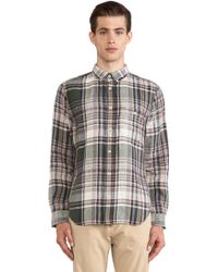 7 For All Mankind Linen Plaid Shirt - Lyst