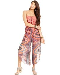 American Rag - Strapless Printed Cropped Jumpsuit - Lyst