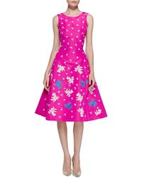 Oscar de la Renta Sleeveless Embroidered Cocktail Dress - Lyst