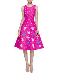 Oscar de la Renta Sleeveless Embroidered Cocktail Dress - Lyst