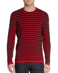 Burberry Prorsum Striped Houndstooth Sweater - Lyst