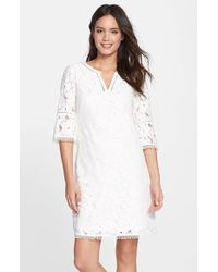 Adrianna Papell Floral Lace Bell Sleeve Shift Dress - Lyst