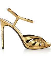 Saint Laurent Jane Metallic Elaphe Sandals - Lyst