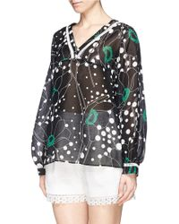 See By Chloé Shirred Silk Chiffon Bomber Jacket green - Lyst