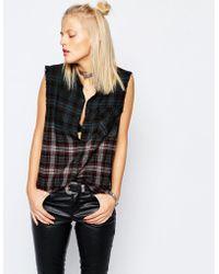 Tripp Nyc - Sleeveless Checked Shirt - Lyst