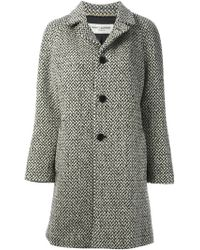 Saint Laurent Woven Single Breasted Coat - Lyst