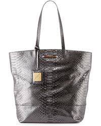 B Brian Atwood Liv Snake-Embossed Tote Bag - Lyst