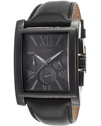 Guess Mens Gents Chronograph Black Genuine Leather and Dial - Lyst