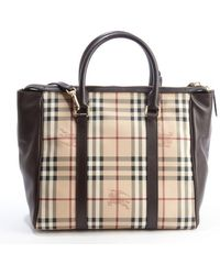 Burberry Beige and Brown Leather and Coated Canvas Haymarket Chatton Large Tote - Lyst