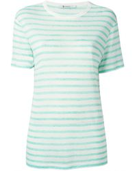 T By Alexander Wang Green and White Striped Tee - Lyst