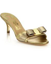 Ferragamo | Glory Metallic Leather Slide Sandals | Lyst