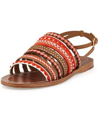 Tory Burch Embroidered Leather Sandal - Lyst